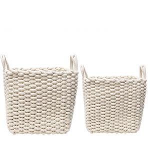 MJ-24BH-W : Set/2 Martha Square Cotton Rope Woven Storage Basket w/handles - White