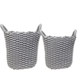 MJ-26BH-G : Set/2 Martha Round Cotton Rope Woven Storage Basket w/handles - Grey