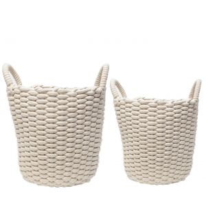 MJ-26BH-W : Set/2 Martha Round Cotton Rope Woven Storage Basket w/handles - White