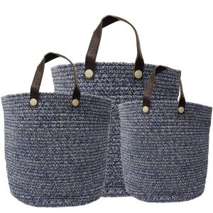 MJ-28AH-BL : Set/3 Martha Cotton Woven Laundry Basket w/leather handles - Navy Blue