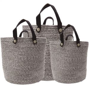 MJ-28AH-CH : Set/3 Martha Cotton Woven Laundry Basket w/leather handles - Choc