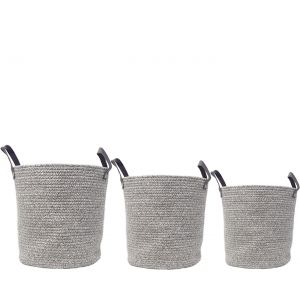 MJ-28AH-GY : Set/3 Martha Cotton Woven Laundry Basket w/leather handles - Grey