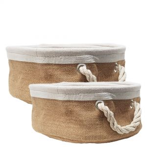 MJ-NB01 : Set/2 Napa Linen Round Storage basket w/rope handle - natural