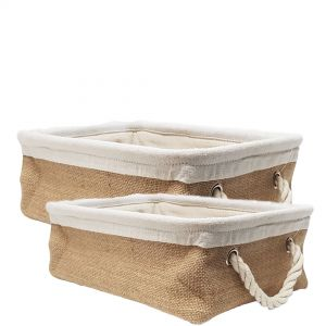 MJ-NB02s : Napa Linen Square Storage basket w/rope handle - natural