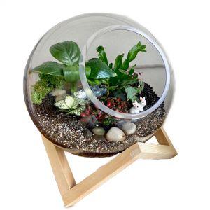 MV037-L : Dali Glass Ball atrium with wooden cubic stand - L (D25cm)