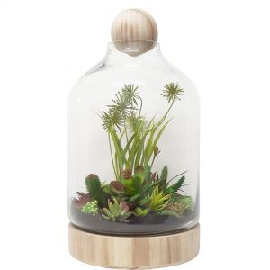 MV039-1V : Hans Glass Atrium with Wooden Base & Ball - Varnished Gloss Finish (H48cm)