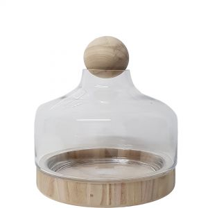 Hans Glass Atrium with Wooden Base & Ball - Matte Finish (H32cm)