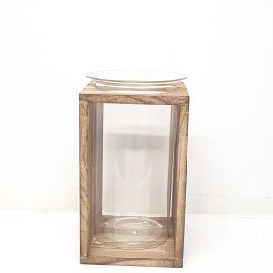 MV20181 : Erik wooden base glass  vase planter - medium