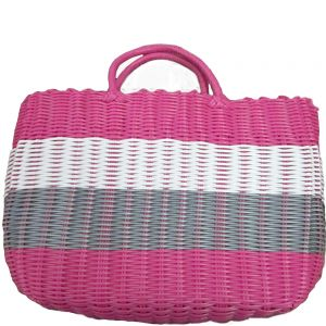 pb08-6 : plastic weave tote bag - multi-colored striped pink