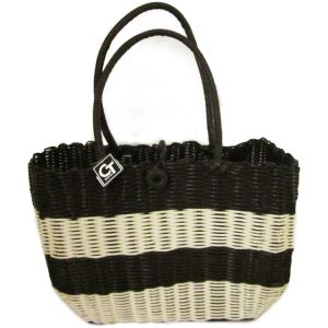 pb08-7 : plastic weave shopping bag - choc striped natural