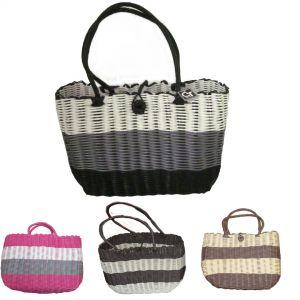 plastic weave tote bag w/button clasp
