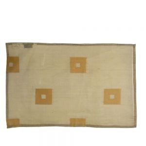 33x48cm silk organza placemat - olive w or copper square