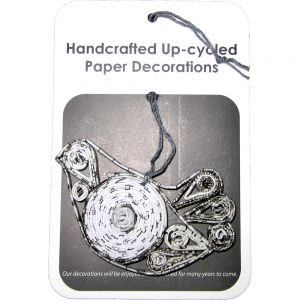 B&W recycled paper ornaments - dove