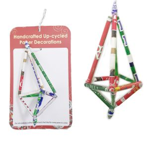 PRX290 : Recycled Paper Straw Ornament - 3D Octahedron