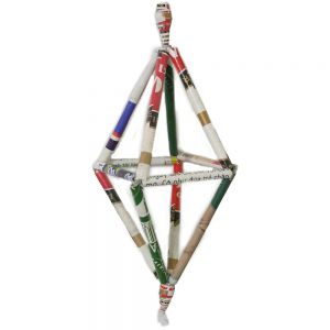 Recycled Paper Straw Ornament - 3D Octahedron prx292