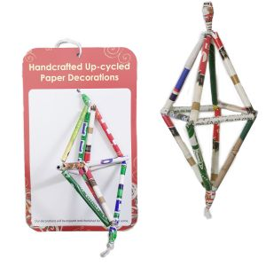 PRX292 : Recycled Paper Straw Ornament - 3D Octahedron