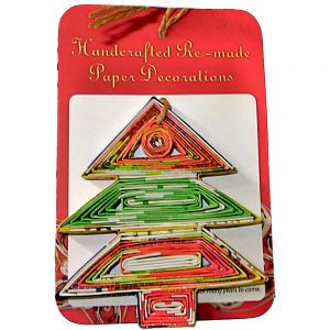 recycled paper ornaments - xmas tree