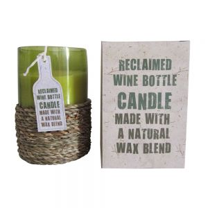 rbc01 : Recycled wine bottle candle w/rope wrap (french vanilla)