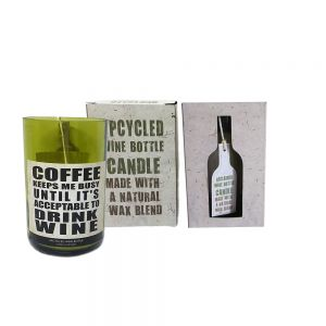 recycled wine bottle candle (lemongrass) - COFFEE