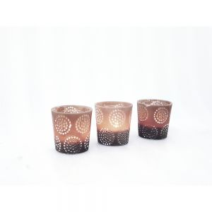 RH01C-T : Small resin cup candle holder eclectic circle pattern - taupe