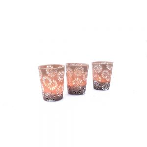 RH02D-T : Large resin cup candle holder urban floral pattern - taupe