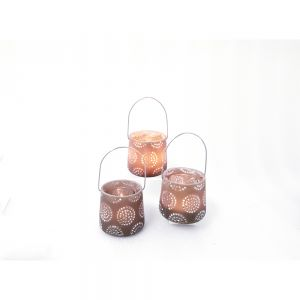 RH03C-T : Small resin hanging lantern tealight eclectic circle pattern - taupe