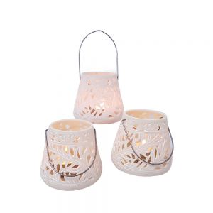 Large resin hanging lantern tealight holder w/amazon leaf pattern - ivory