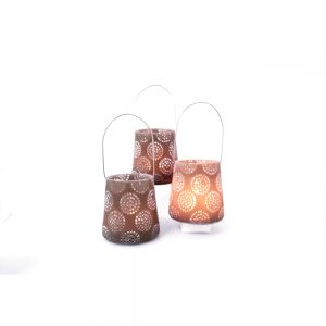 RH04C-T : Large resin cup candle holder eclectic circle pattern - taupe