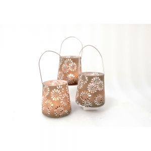 Large resin hanging lantern tealight urban floral pattern - taupe RH04D-T