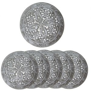 RH10-G : Resin round coaster D9cm - grey