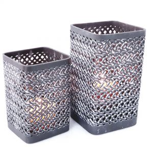 RH16-RH17-G : Square Arabesque pattern hurricane - dark grey