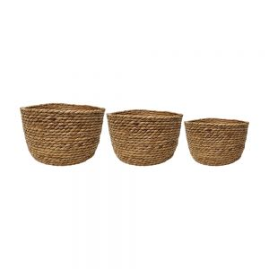 set/3 Paco round storage basket - natural