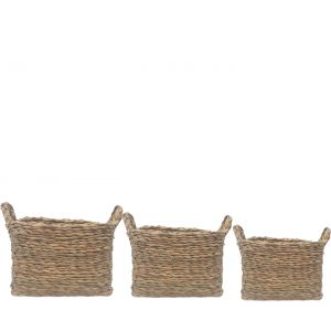 SG-LY002 : Set/3 Sven Square Storage baskets w/handle - natural (hyacinth)