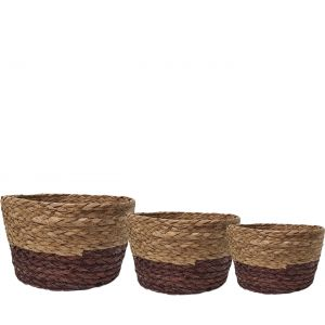 SG-LY004 : Set/3 Jacob V-shaped Round storage basket - natural / brown