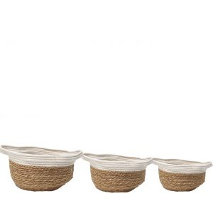 SG-LY005 : Set/3 Hanna round storage hamper w/handles (cotton & reed) - natural w/ white **SOLDOUT**