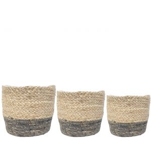 SG-LY006 : Set/3 Hemsley round garden planter (plastic lined) - white & grey