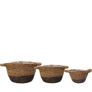 SG-LY007 : Set/3 Hemsley tapered garden planter (plastic lined) w/ handles - natural & grey