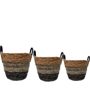 SG-LY008 : Set/3 Jacob V-shaped Round Storage basket w/handles - 3-tone: natural, grey, charcoal