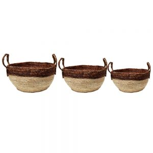 set/3 Harlow round bowl basket w/handle - natural w/ white