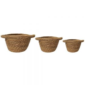 set/3 Harlow v-shape round baskets w/handles - natural
