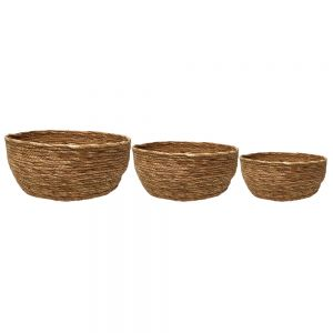 set/3 Paco round bowl basket - natural