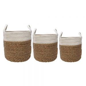 set/3 Hanna cylindrical storage hamper w/handles - natural w/ white