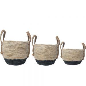 SG-Y076w : set/3 Hemsley rounded storage hampers w/handles - white w/ black