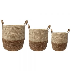 set/3 Hemsley cylindrical storage hampers w/handles - ivory w/ natural