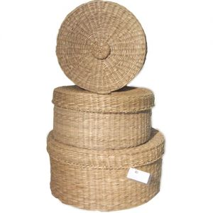 round storage container with lid set/3 - natural