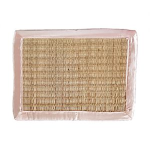 sg23sa/man : seagrass rectangular placemat - natural w/ mauve satin trim **SOLDOUT**