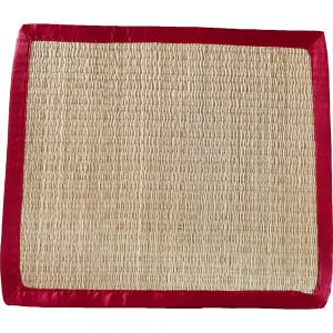sg23sa/rn : seagrass rectangular placemat - natural w/ red satin trim **SOLDOUT**