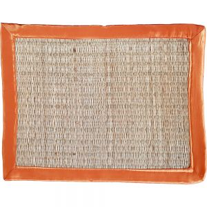 sg23sa/ron : seagrass rectangular placemat - natural w/ red orange satin trim