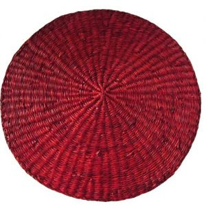 seagrass round placemat large - bright red