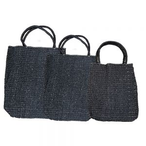 Set Of 3 Large Tote Shopping Bags - Black